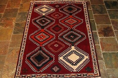 Shirazz 188X122 GENUINE HAND KNOTTED TRIBAL  PERSIAN RUG CARPET/ THICK PILE