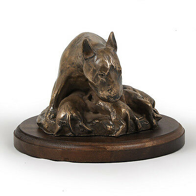 Bull Terrier, dog bust/statue on wooden base , ArtDog Limited Edition, CA