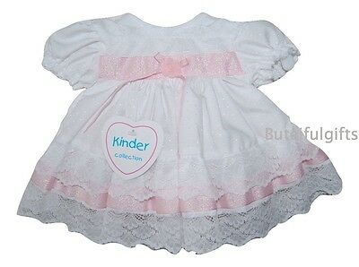 Baby Girls Traditional Lace Frilly Dress White/Pink White Ivory NB -12 Mth