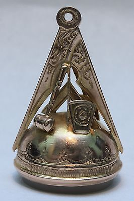 Rare Antique 9ct Gold Masonic Pendant Fob Charm Working Tools Hallmarked 1919