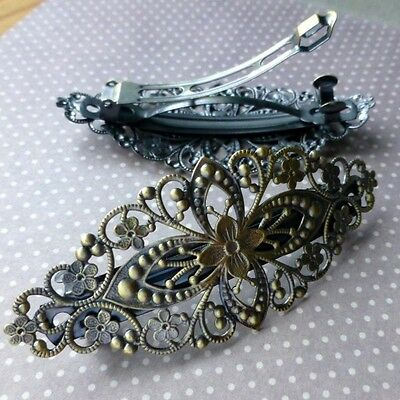 Pack of 2 Antique Bronze Filigree Barrette Hair Clips