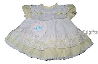 Baby Girls Traditional Lemon/White Lace Frilly Dress 0-3 3-6 Month
