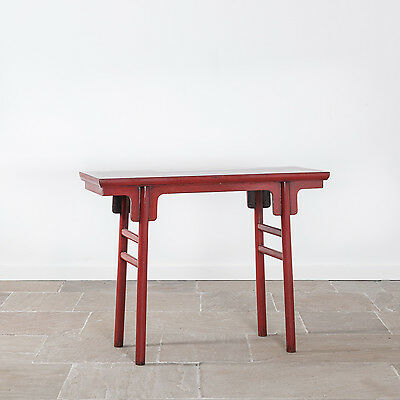 Early 20th Century Chinese Red Lacquered Altar Table. Oriental Antiques.