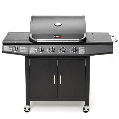 CosmoGrill 6+1 Deluxe Gas Burner Grill BBQ Barbecue W/ Side Burner - Silver Grey