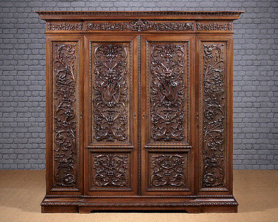 Antique Late 19th.c. Carved Wardrobe c.1880