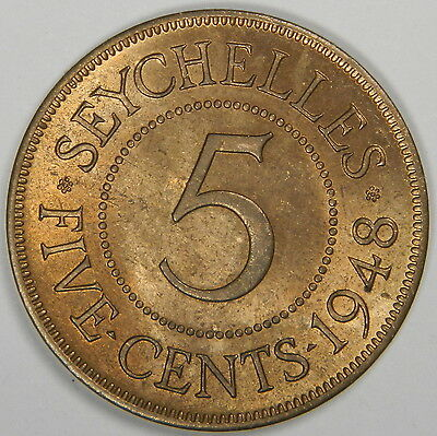 1948 Seychelles 5 Cents High Grade! - Classic! Inv#298