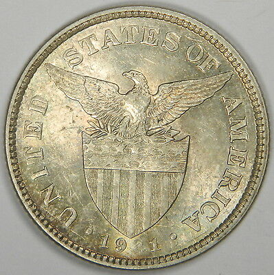 1921 Philippines 50 Centavos - High Grade! Luster! Silver! - Classic! Inv#302