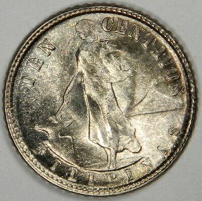 1945-D Philippines 10 Centavos - High Grade! Luster! Silver! - Classic! Inv#303