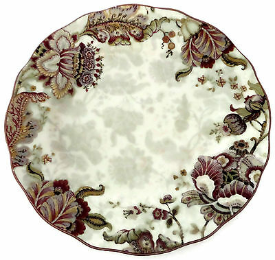 222 Fifth Gabrielle Cream Round Dinner Plate Floral Paisley Scalloped