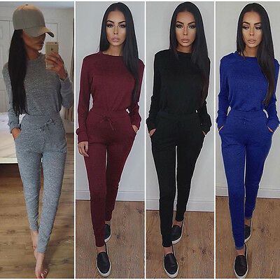 2Pcs Women Tracksuit Hoodies Sweatshirt Pants Sets Sport Lounge Wear Casual Suit