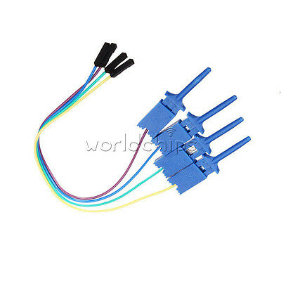 4PCS 1 Pin Hook Clip Clamp Jumper Testing Dupont Cable Wire for Logic Analyzer
