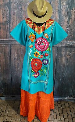 Turquoise Hand Embroidered Flowers Cotton Huipil Tehuana Mexico Hippie Santa Fe