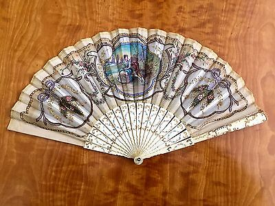 Gorgeous Antique French Hand Fan - Possibly Lachelin