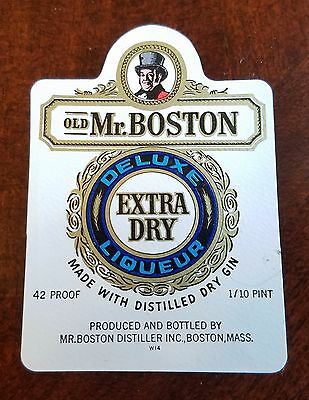 Vintage Old Mr. Boston Extra Dry Deluxe Liqueur Label
