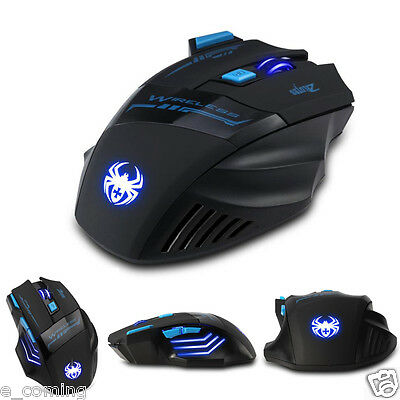 Adjustable 2400DPI Optical Wireless Gaming Game Mouse Mice For LaptopPC Computer