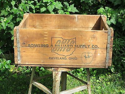 Antique Wood Crate Ohio Bowling & Billiard Supply Cleveland Vintage Wooden Box