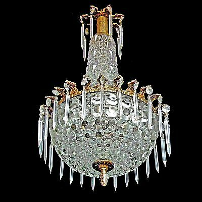 Rare Antique1950s French Art Deco Bronze Thick Glass Crystal Teardrop Chandelier