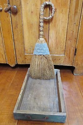 Antique Primitive Wooden Drawer and Broom, Country, Farm House, Cabin