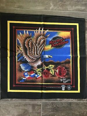 Harley Davidson Very Rare Authentic Vintage Eagle and Rose Bandana Scarf
