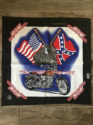 "Vintage New Harley Davidson ""This Breed Never Dies"" Bandana, Buffalo and Flags"