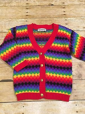 MiniWaves Rainbow Button Front Cardigan Children's Size Small EUC Vintage