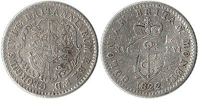 1822 British West Indies 1/16 Dollar Silver Coin KM#1 Rare Low Mintage