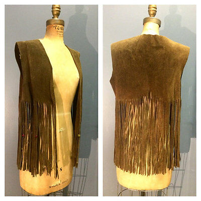 HAND-BEADED Fringe Fringed 1960's 1970's Vintage 60s 70s Suede Leather Vest M L