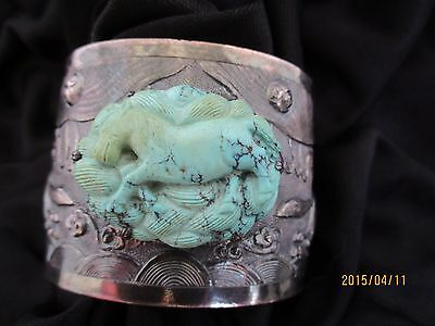 Antique  Chinese Signed Silver Year of the Horse Carved Turquoise Cuff Bracelet
