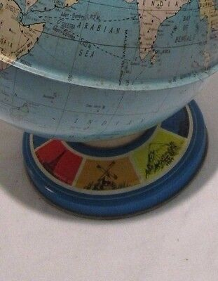"VINTAGE 1980s OHIO ART COMPANY 9"" DIAMETER DESKTOP GLOBE TIN GRAPHIC LITHO BASE"