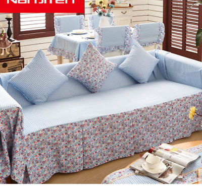 Blue Stripe Cotton Linen Slipcovers Sofa Cover Pet Protector 1 2 3 4 Seater
