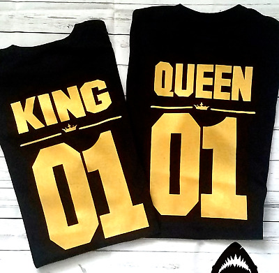 King and Queen - Couple matching Funny cute T-shirts Two Sides Print Street Punk