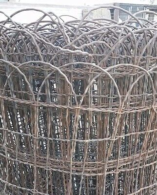 (NICE) Vintage  Woven Wire round top garden fence gate trellis 20 ft roll. CLEAN
