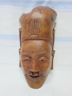 Antique Chinese mask of a goddess with glass eyes, People Republic of China, sig