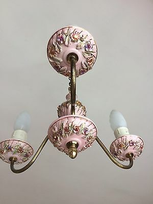 A Lovely 3 Arm Vintage French Porcelain And Brass Floral Style Chandelier Light