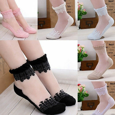 NEW Womens Ankle Socks Elastic Ultrathin Transparent Beautiful Crystal Lace Sock