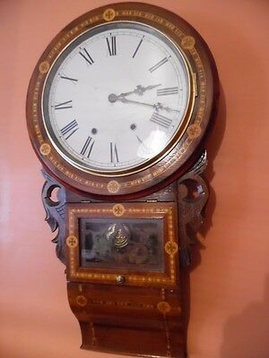 victorian inlaid  wall clock by newhaven