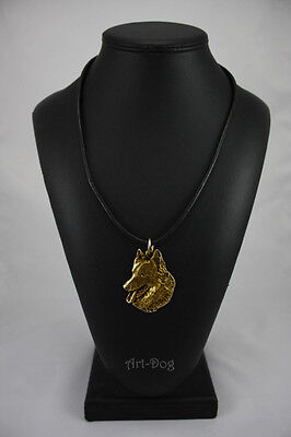 Belgian Shepherd, gold covered necklace, high qauality Art Dog IE