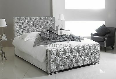 Florida Crushed Velvet Fabric Upholstered Silver Bed Frame 4'6 Double 5FT King