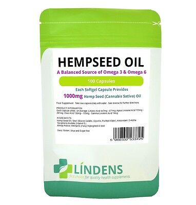 Lindens Powerful Hemp Seed Oil 1000mg 2-PACK 200 Capsules Omega 3 6 Hempseed