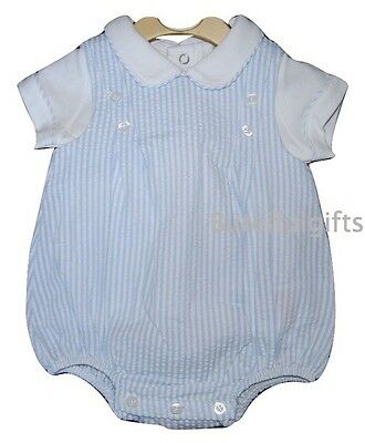 Baby Boys Spanish Style Sky Blue/White 2 Piece Top & Romper Set Newborn - 9 Mth