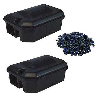 2 x RODENT BAIT STATION BOX NO TRAP & 400g GRAIN POISON Rat Mouse Mice Pest