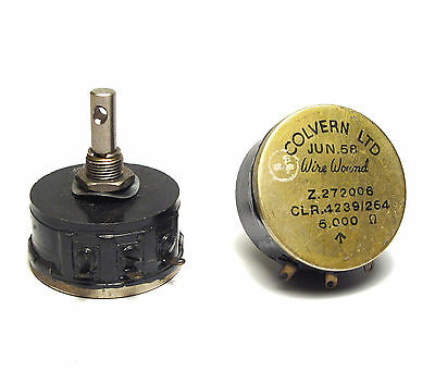 2x Colvern Potentiometer CLR4239/264, 5 kOhm lin, Wire Wound 4W, 6.3mm Achse