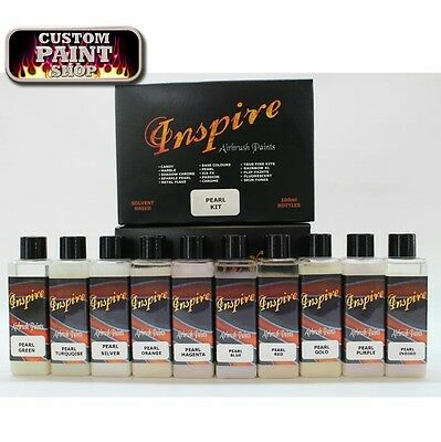 Inspire Pearl Base Airbrush Paint Set 10x Pearl Colours 100ml, Custom Spray