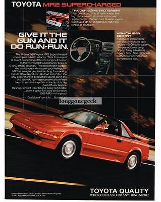 1988 Toyota MR2 Supercharged Red Vtg Print Ad