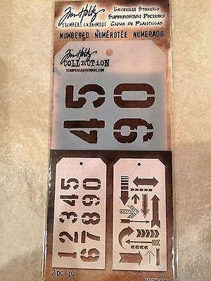 Tim Holtz Stencil 2 pack Set NUMBERED and ARROW MI-THS505 NEW