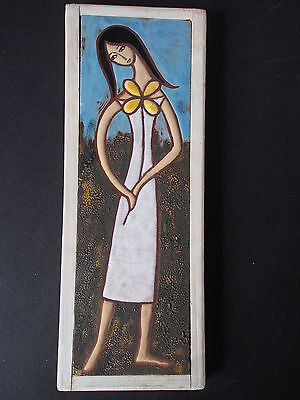 Mid Century Young Lady Girl Figure Hippie Floral Hand Paint Frame Crackle Tile