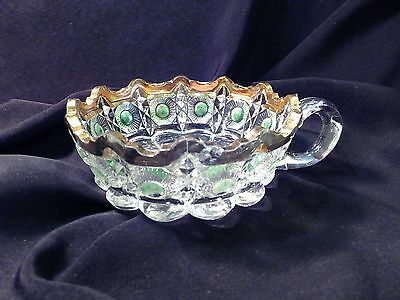 1909 US Glass EAPG GREEN Stained Gold Trim Bulls-Eye & Daisy Pattern Glass Nappy