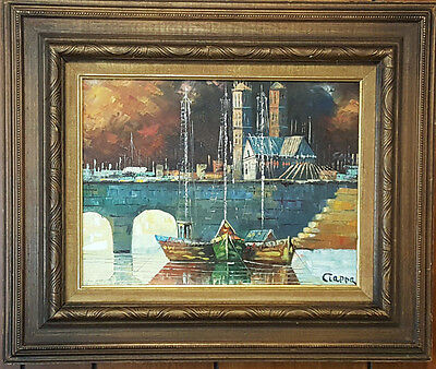 Framed Oil on Canvas Landscape Scene Painting. Signed, Ciappa.