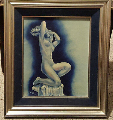 Custom Framed Oil on Canvas Portrait of Nude Women Painting. Signed, Sema.