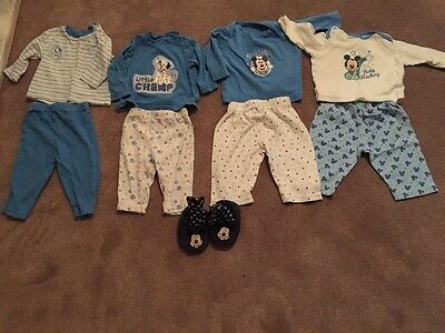 Set Of 4 Baby 3-6 Months Pyjamas Disney Mickey Mouse 101 Dalmatians With Booties